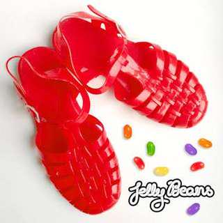 Red jelly sandals