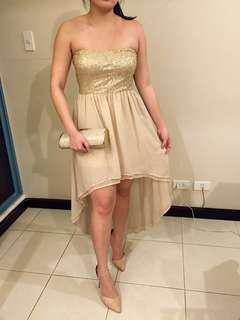 Forever 21 gold sequined party dress