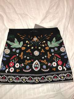 BNWT Zaful Embroidered Skirt