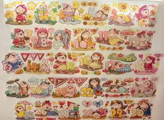 (Instock) *Exclusive* Days of the Month 1 Washi Stickers