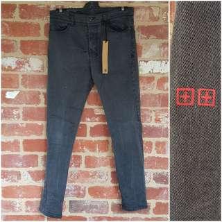 Ksubi Chitch Skinny Dark Grey/Black Jeans 32 - Free postage