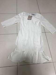 Dress dropwaist white hollyhoque