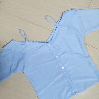Market & Museum Sabrina Blue Shirt kemeja sabrina blouse