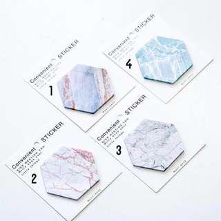 🚚 RESTOCKED hexagon marble sticky note post it note
