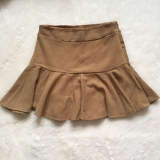 PRELOVED Brown Ruffle Skirt