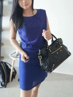 Dark blue dress with lining