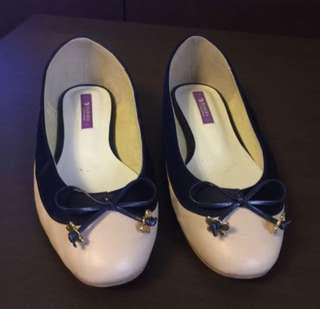 Babara Beige with Navy Blue Satin Ribbon with Butterfly Pumps