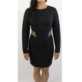 Zara - Black Long Sleeve Bedazzled Waist Dress