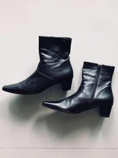 Black Boots - Mid Calf Shoes Leather Ladies Women