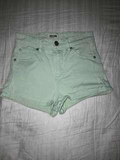(00) Mint Garage Denim Shorts - Mid Waist