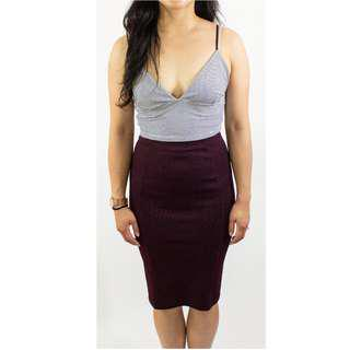 Zara - Plum High Waisted Knee Length Pencil Skirt