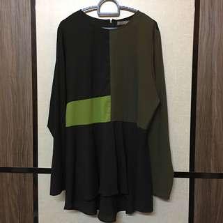 Poplook colourblock blouse