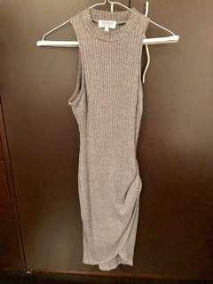 Grey mini dress with slit in leg