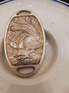 銅電銀刻孔雀牌一塊