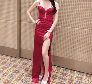 Abyss by Abby red corset lace satin dress sexy