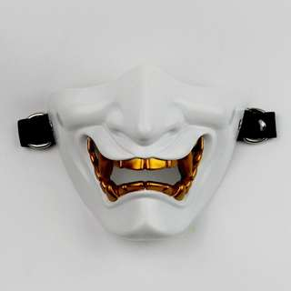 Japanese Demon White Oni Streetwear Photography Prop Half Mask