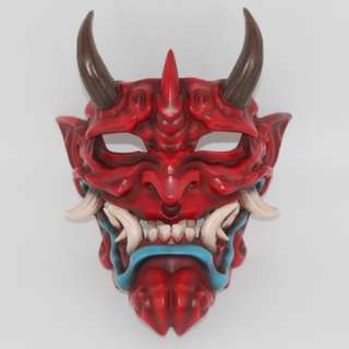 Colored Large Japanese Oni Demon Culture Full Mask Payday 2 Style Street Photography Label