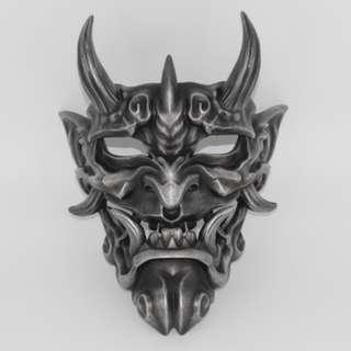 Discolored Silver Japanese Demon Oni Payday 2 Classic Devil Full Mask