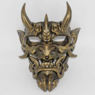 Bronze Discolored Japanese Culture Demon Oni Devil Full Face Payday 2 Mask
