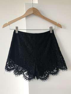 Bardot Lace Black Shorts