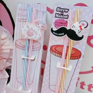 Hello Kitty and Melody 2 pcs Reusable Straw