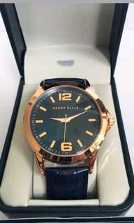 PERRY ELLIS     Navy Textured Leather Strap   Rose Gold Analog Watch