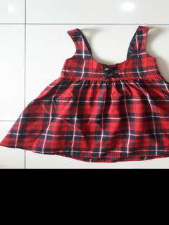 Black red tartan overall lolita dress