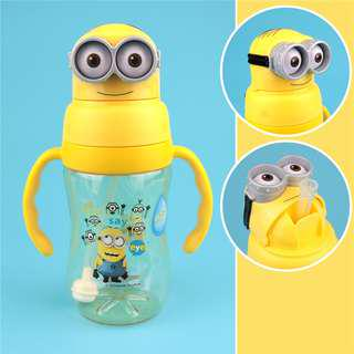 Minions Kids Water Bottle Learning Cup With Straw BPA-Free 350ml