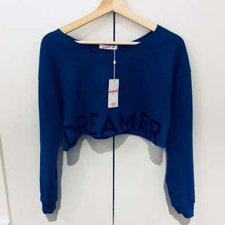 Royal Blue Supré Long Sleeve Crop Top