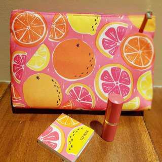 Clinique Set:  Eye Shadow Blush Duo, Watermelon Long Last Lipstick & Pouch