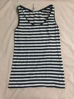 H&M Navy Blue and White stripes sleeveless
