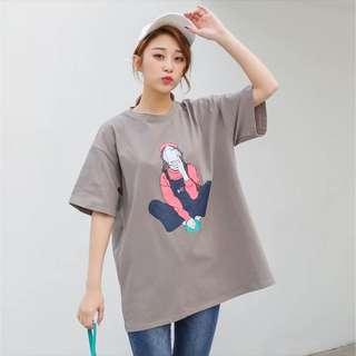 🚚 淺軍綠女孩自拍短袖上衣T恤(大尺碼)✅