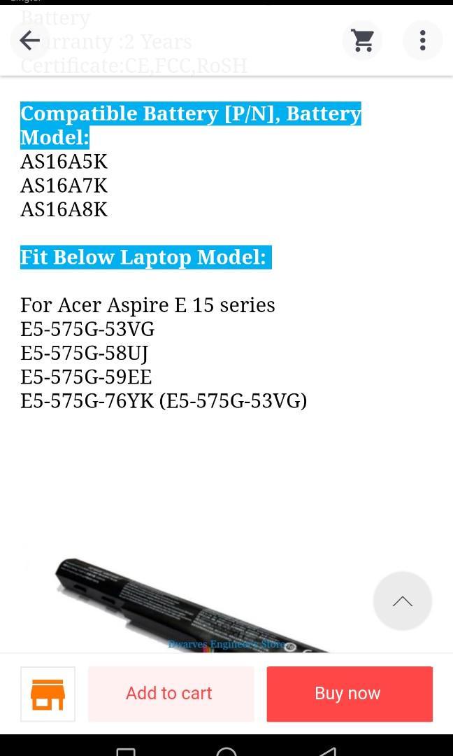 14.6V 2200mAh AS16A5K Battery For Acer Aspire E15 E5-575G-53VG E5-575G-58UJ E5-575G-59EE Laptop Battery