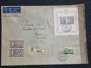*Rare WW2 Switzerland 1943 Registered Censor Cover w Rare Stamps Multiple Postmarks