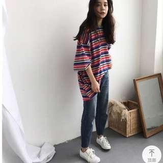 🚚 紅藍灰條紋短袖上衣T恤(大尺碼)✅