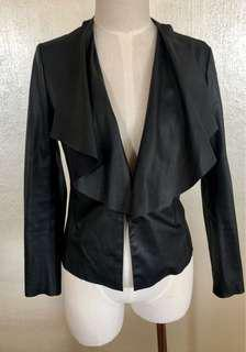 ZARA basic black faux leather draped waist jacket