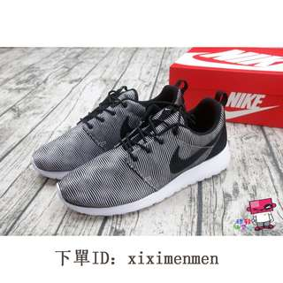 香港代購 US10 28cm NIKE ROSHE ONE PREMIUM PLUS 慢跑鞋 黑白 條紋 螺旋 休閒鞋