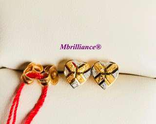 Brushed Hearts earstuds 916 Gold by Mbrilliance