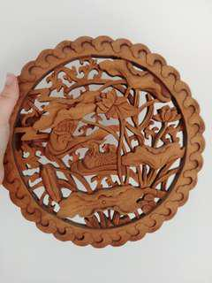Chinese wooden phoenix carving display