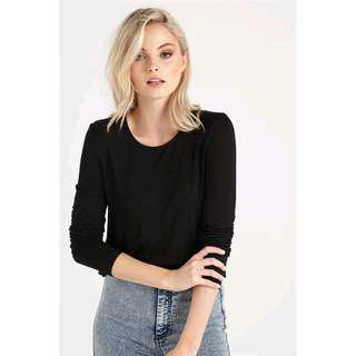 🚚 #Under9 CO Cotton On Madison Hip Grazer Log Sleeve Top (IN GUNMETAL)