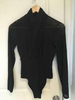 Black Bardot Mesh Wrap Bodysuit