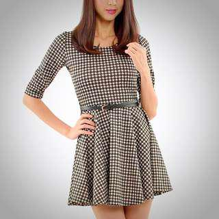 🚚 Her Velvet Vase Oxford Houndstooth Dress