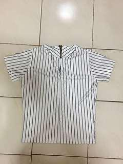 White & Black Stripes Top
