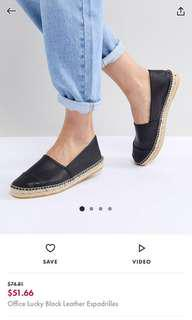 ASOS Office lucky black leather espadrilles
