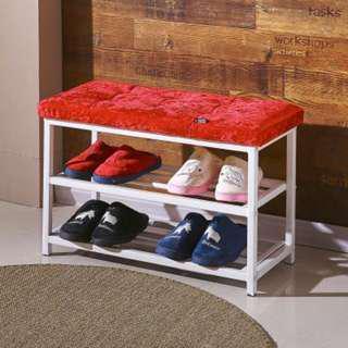 Premium Shoe Rack with Sofa Seat Stainless Steel legs