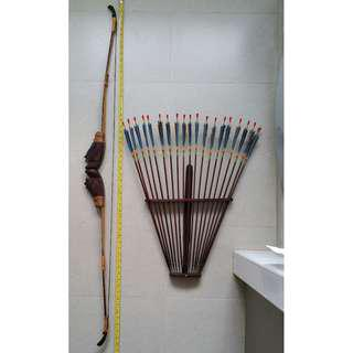 Brand New Real Authentic Hunting Bow And Arrow With Wall Display Rack, Price reduced to $240. Original $290