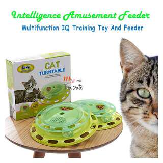 Cat Kitten IQ Training Food Feeder Turntable Toy Play Bell in Ball