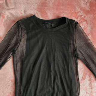 Zara Long Black Mesh Top