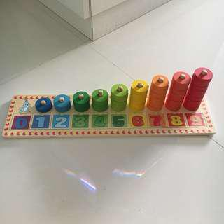 Wooden Number Counting / Sorting Color Puzzle