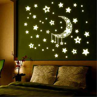 Glow In The Dark Stars and Crescent Moon Wall Decal